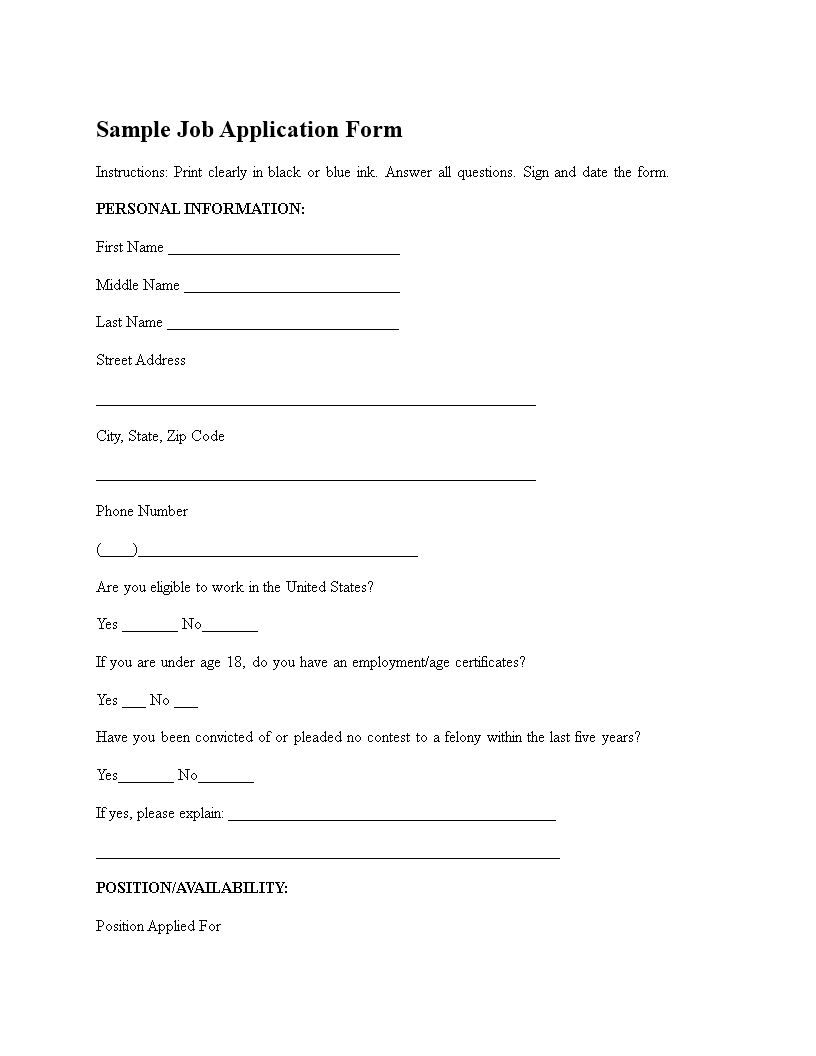 standard employment application form free