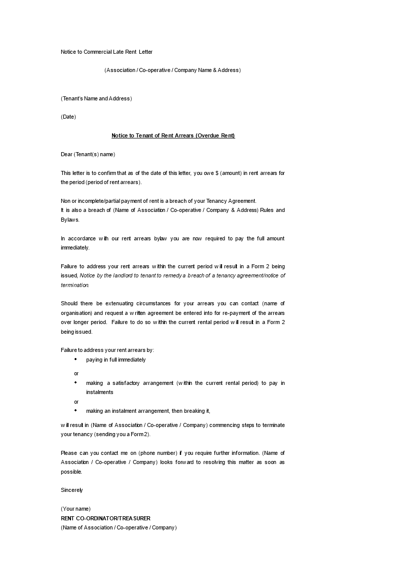 notice to commercial late rent letter main image download template
