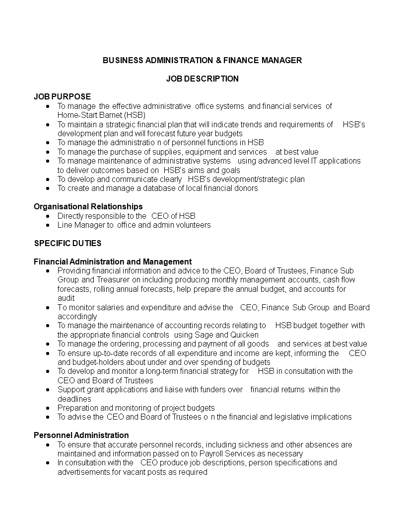 finance manager job description responsibilities