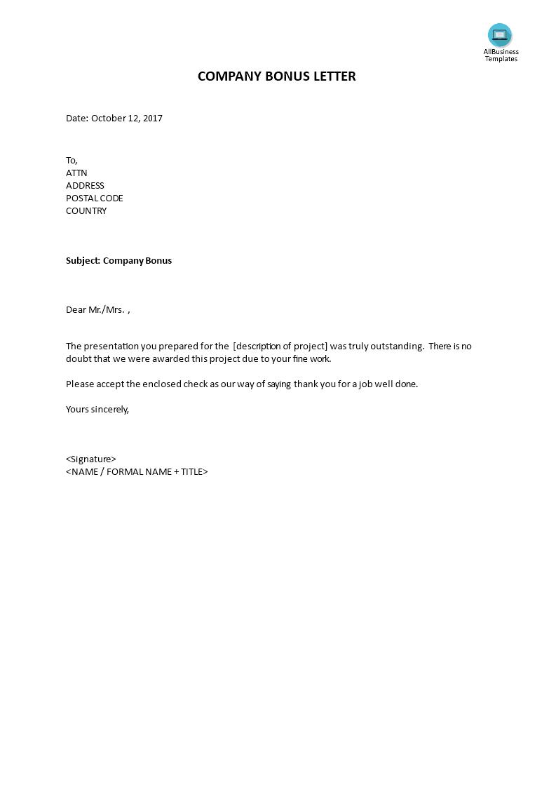 Company bonus letter templates at allbusinesstemplates company bonus letter main image get template spiritdancerdesigns Images