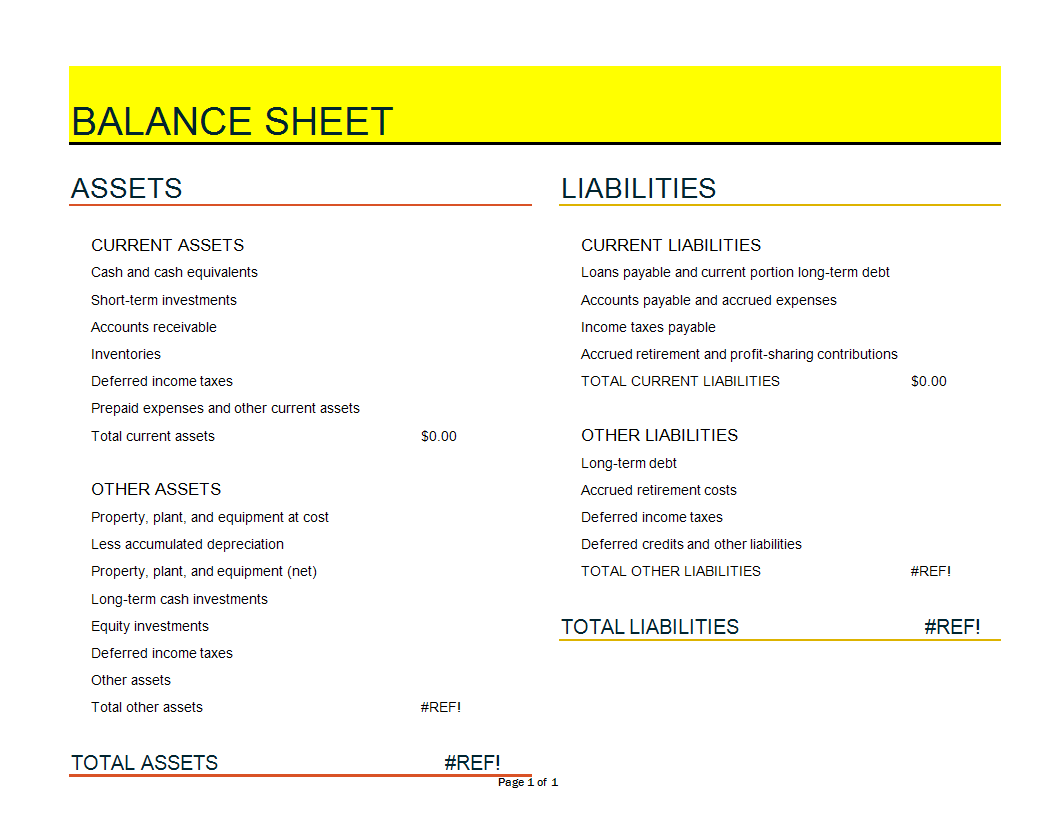 Financial Balance Sheet Excel Spreadsheet Template Templates At Allbusinesstemplates Com