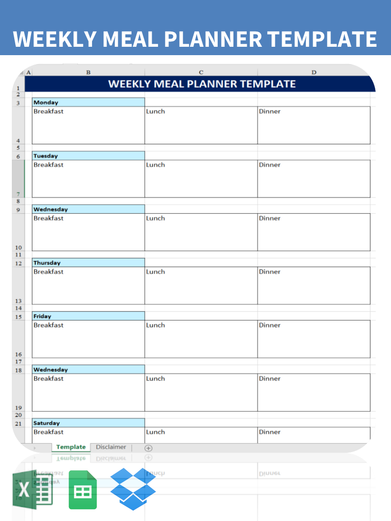 printable weekly meal planner template