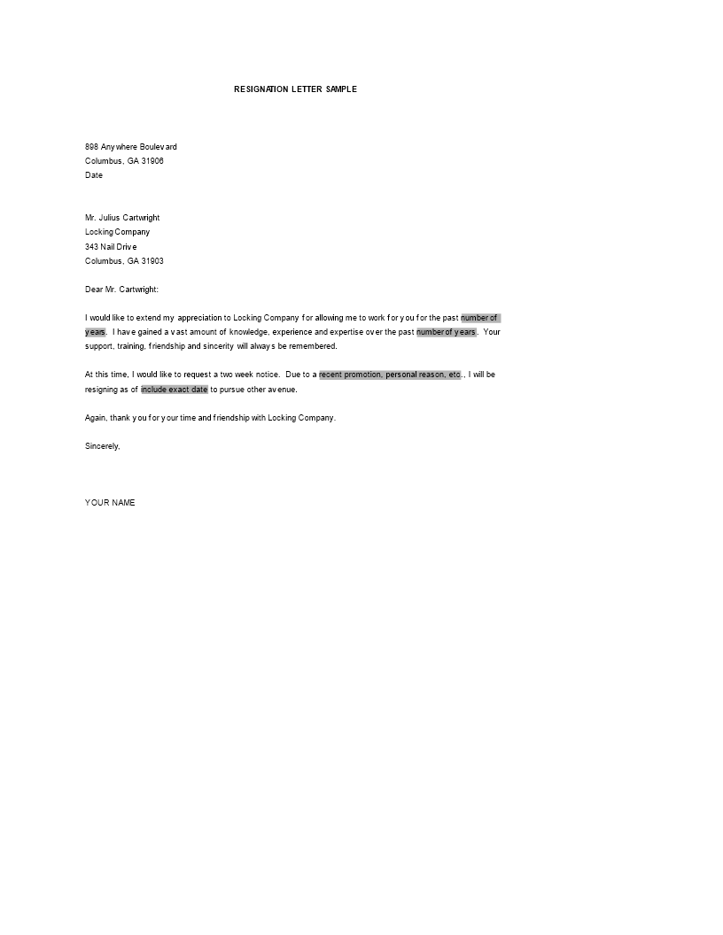 Simple Resignation Letter For Personal Reason Word   Templates at ...