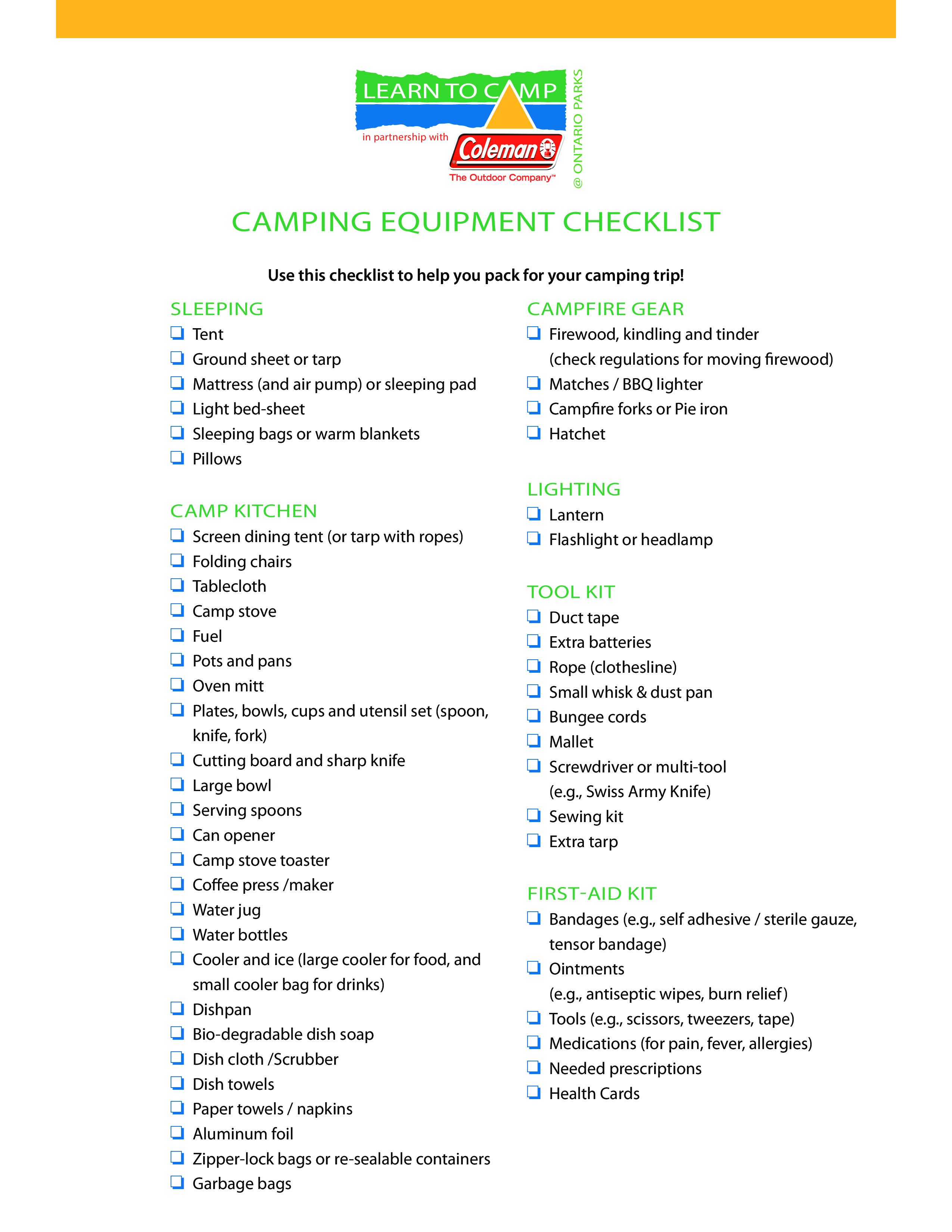 Camping Equipment Checklist Templates At Allbusinesstemplates Com