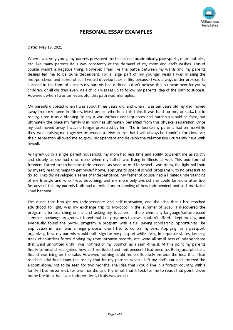 Kostenloses Personal essay example With 500 Word Essay Template