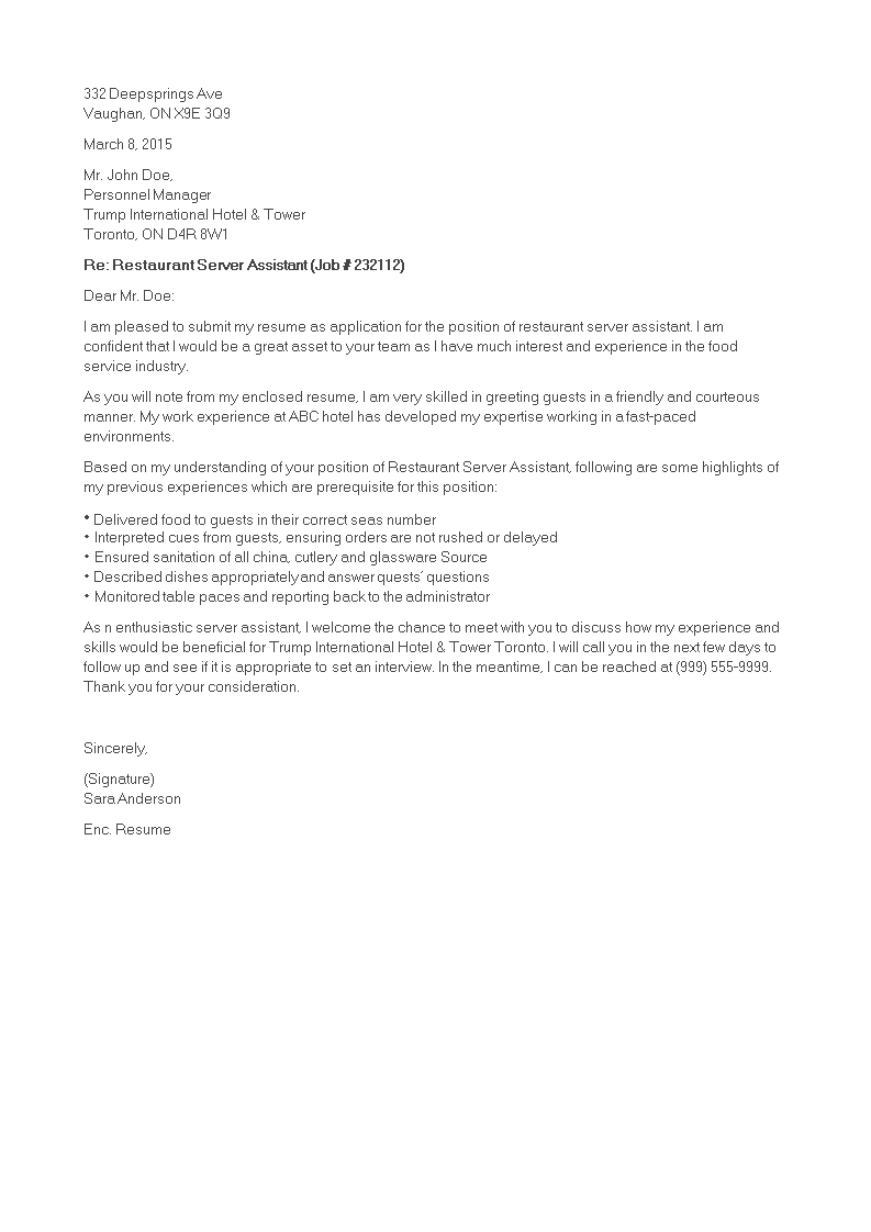 Restaurant Server Cover Letter from www.allbusinesstemplates.com