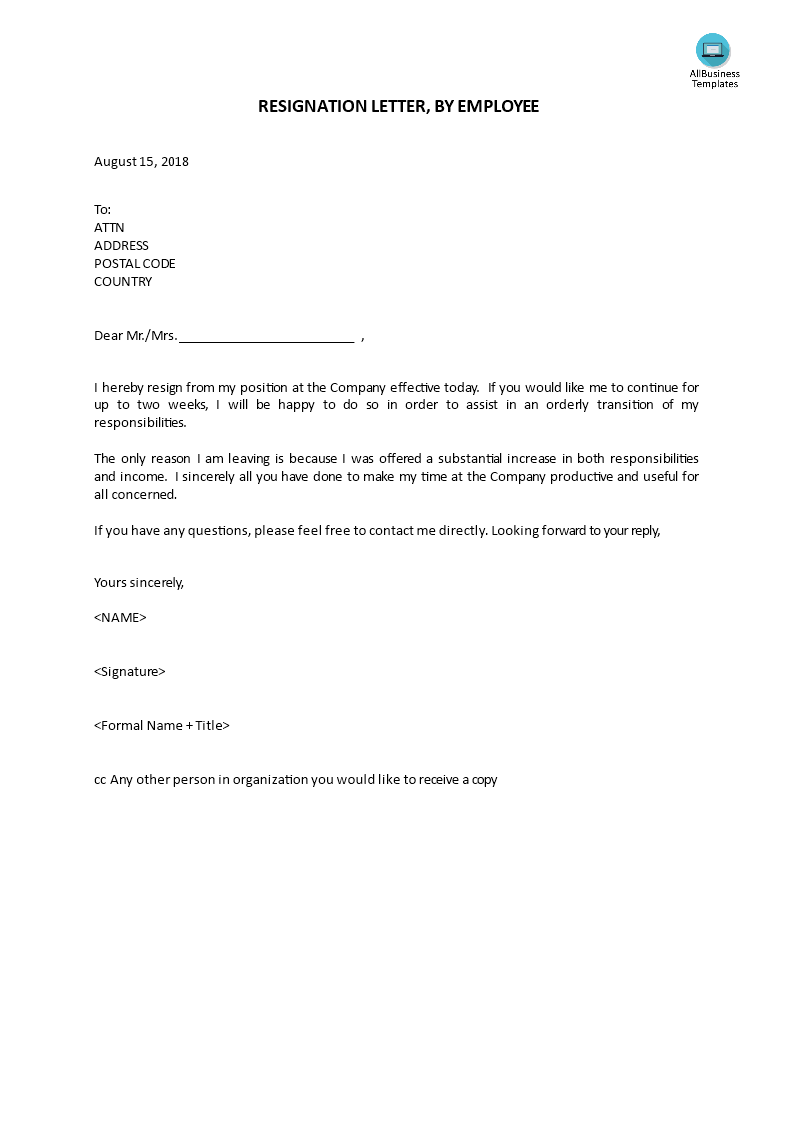 Resignation Letter,by Employee | Templates at ...