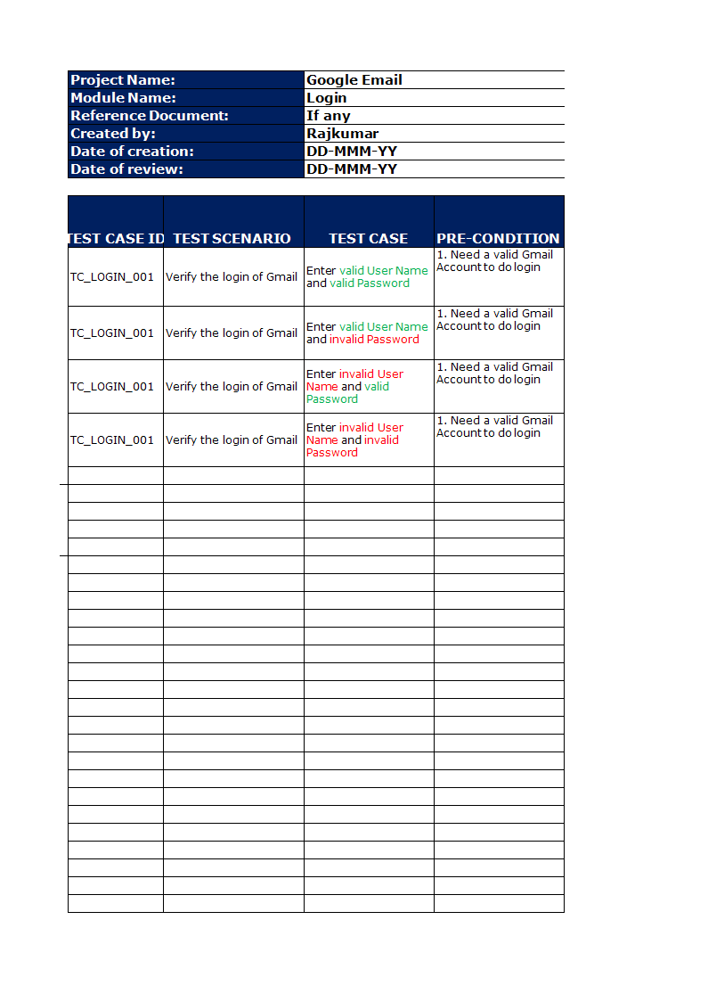 Kostenloses test case Template in excel