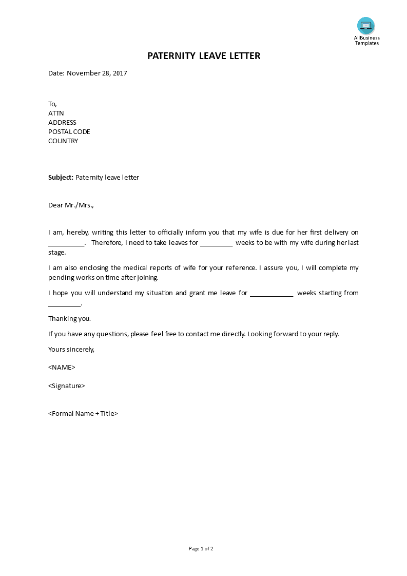 Free Paternity Leave Letter Templates At Allbusinesstemplates Com