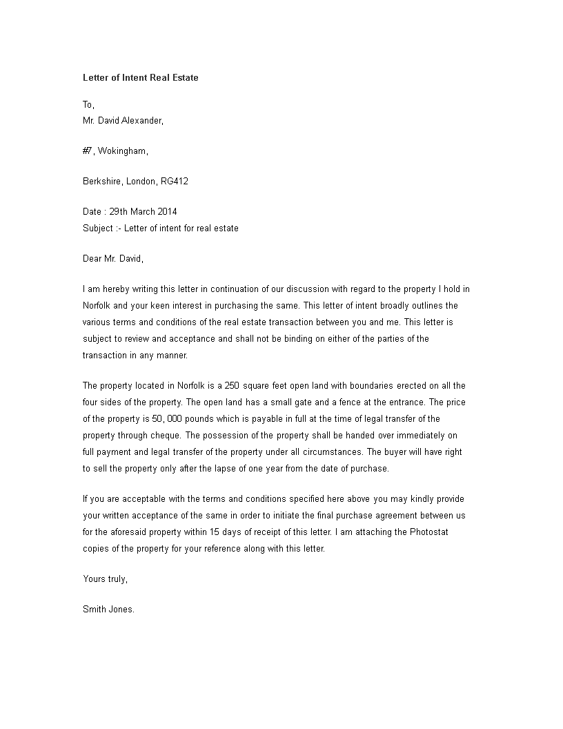 free letter of intent real estate in templates at