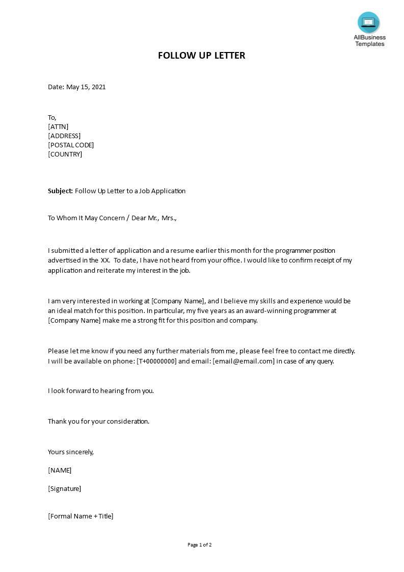 Follow Up Letter After Resume from www.allbusinesstemplates.com