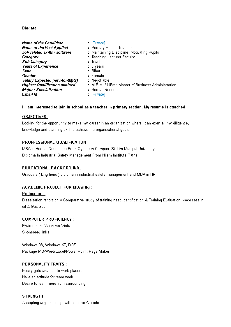 Primary School Teacher Resume Templates At