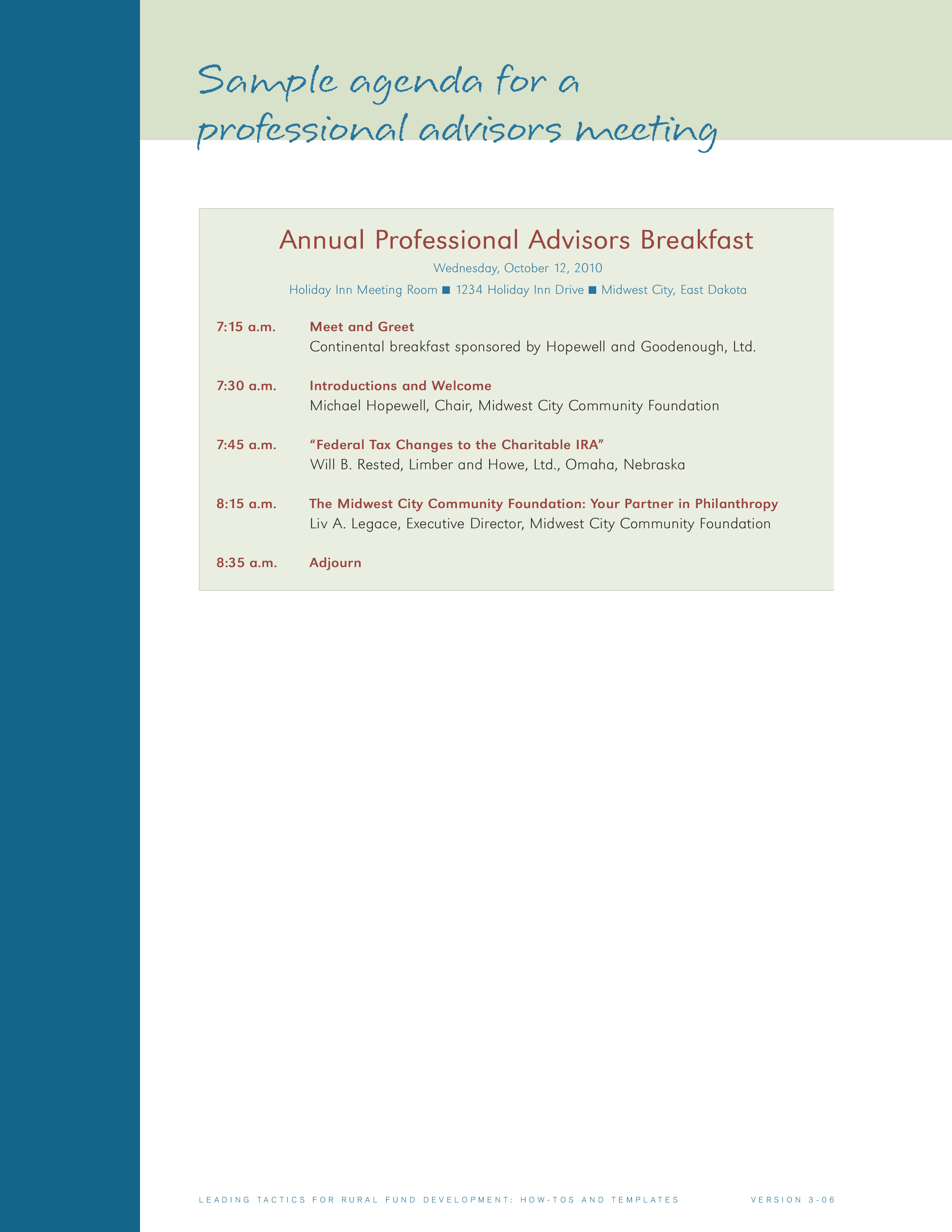 layout of an agenda
