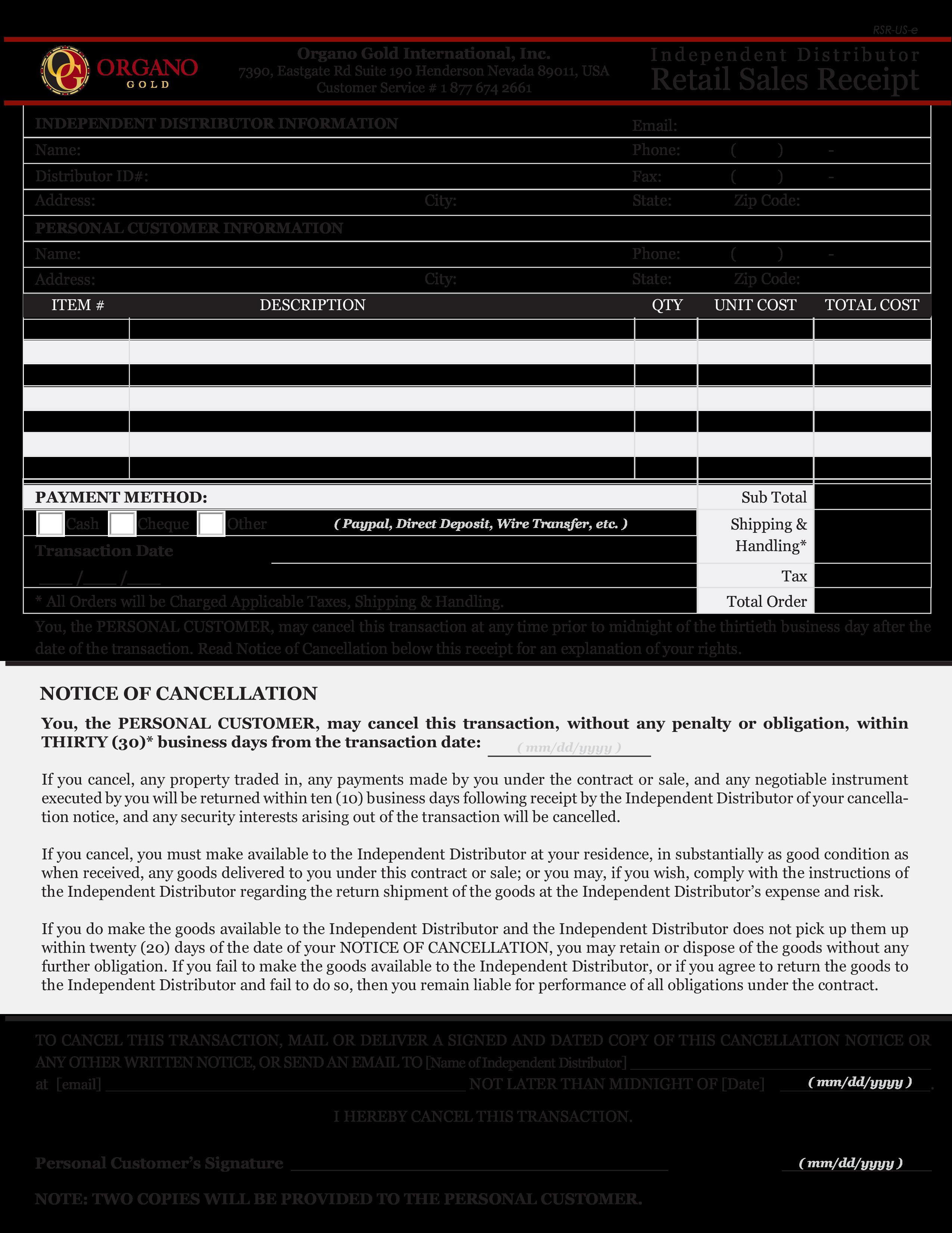free retail sales receipt templates at