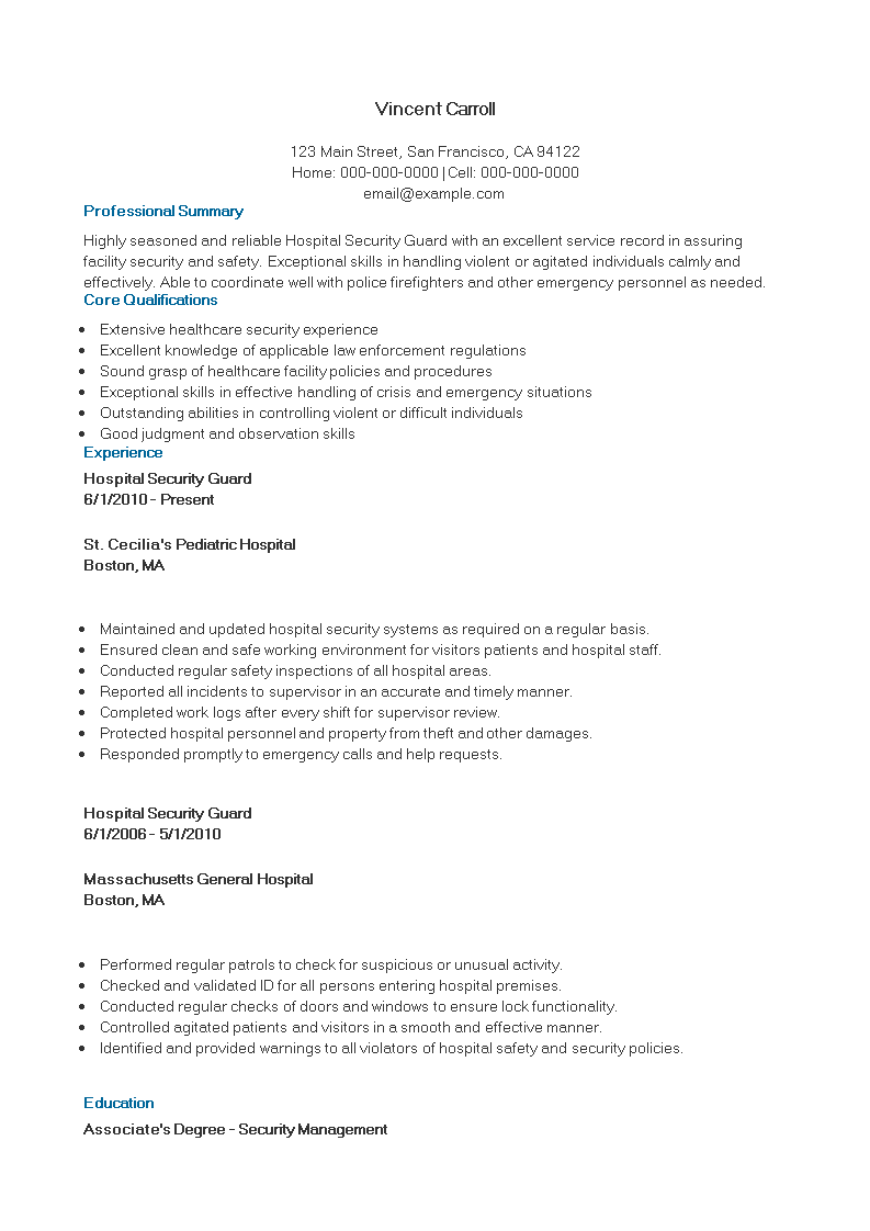 Free Hospital Security Guard Curriculum Vitae template | Templates ...