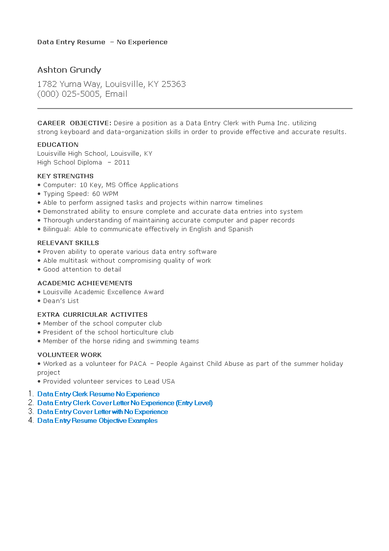 Free No Experience Data Entry Resume | Templates at ...