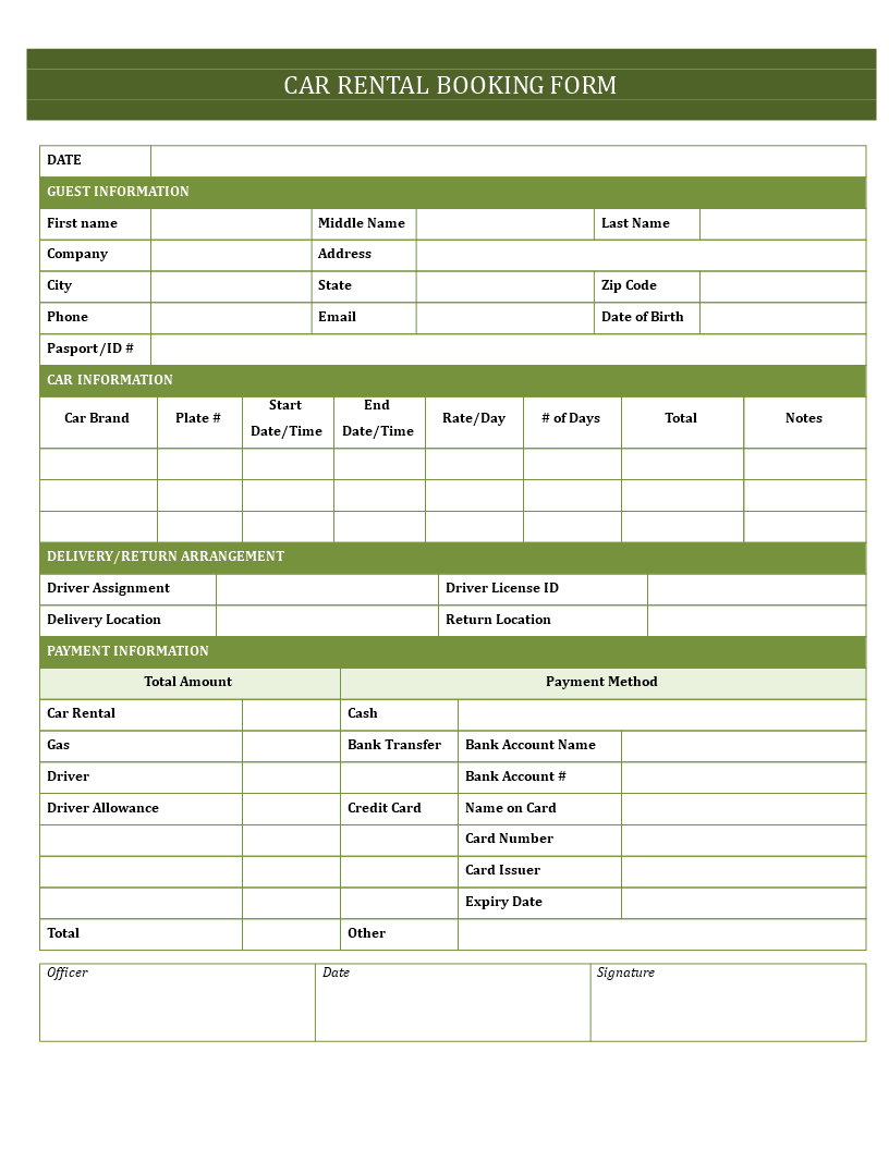 Car Hire Booking Form main image