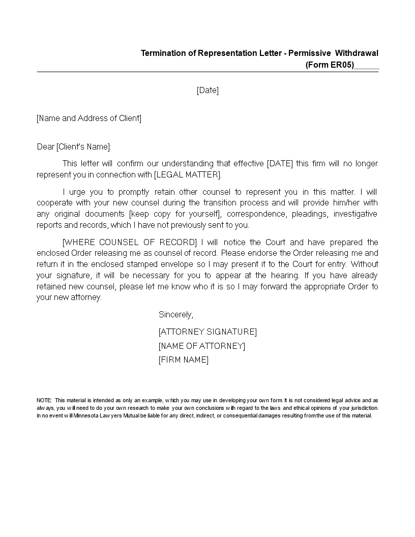 Free Termination Of Representation Letter Templates At