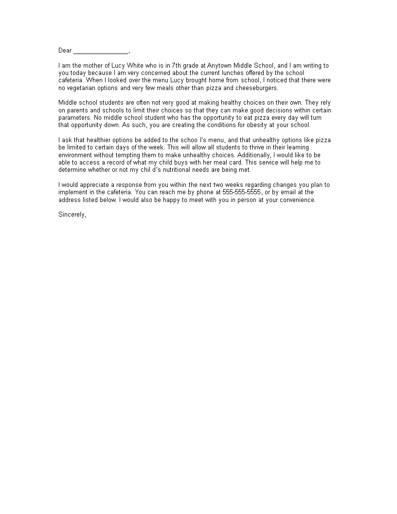 Free Complaint Letter To School Principal About Food Templates At