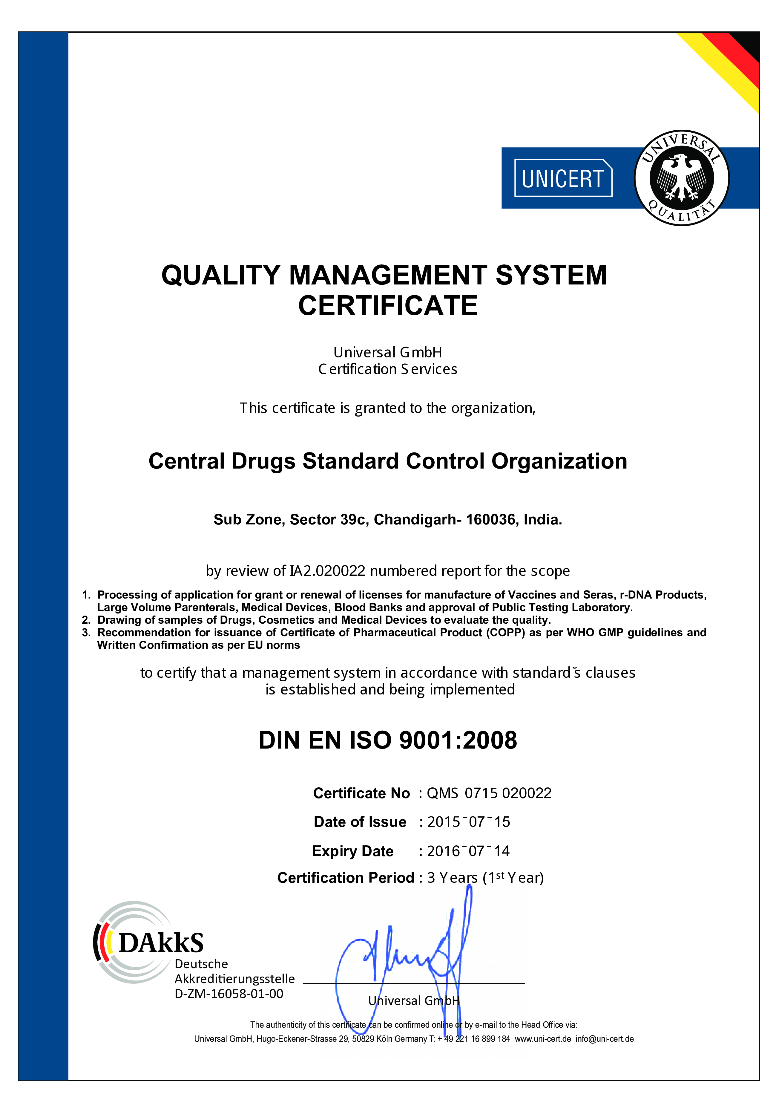 Quality Management System Certificate | Templates at ...