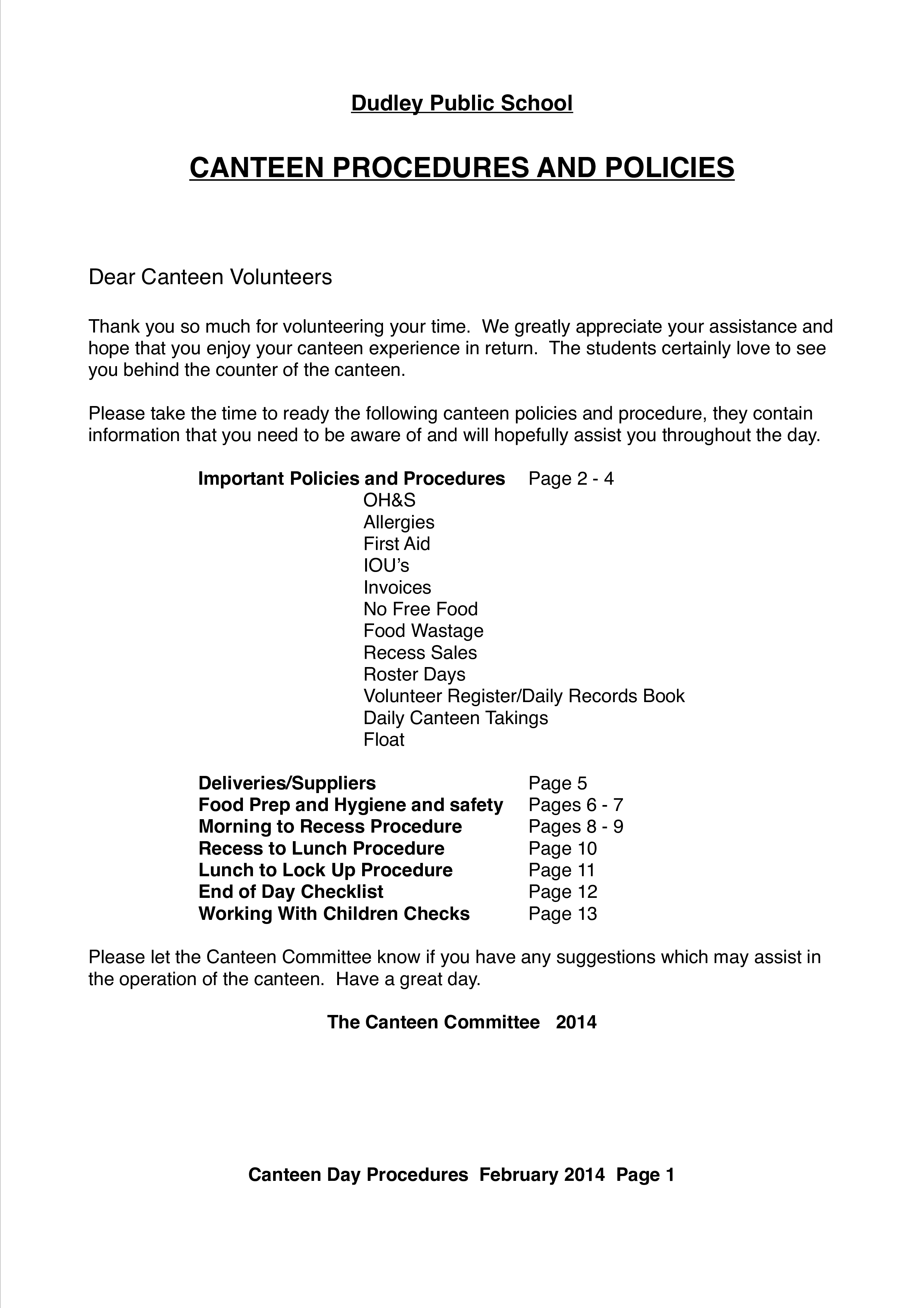 School Canteen Cleaning Schedule | Templates at