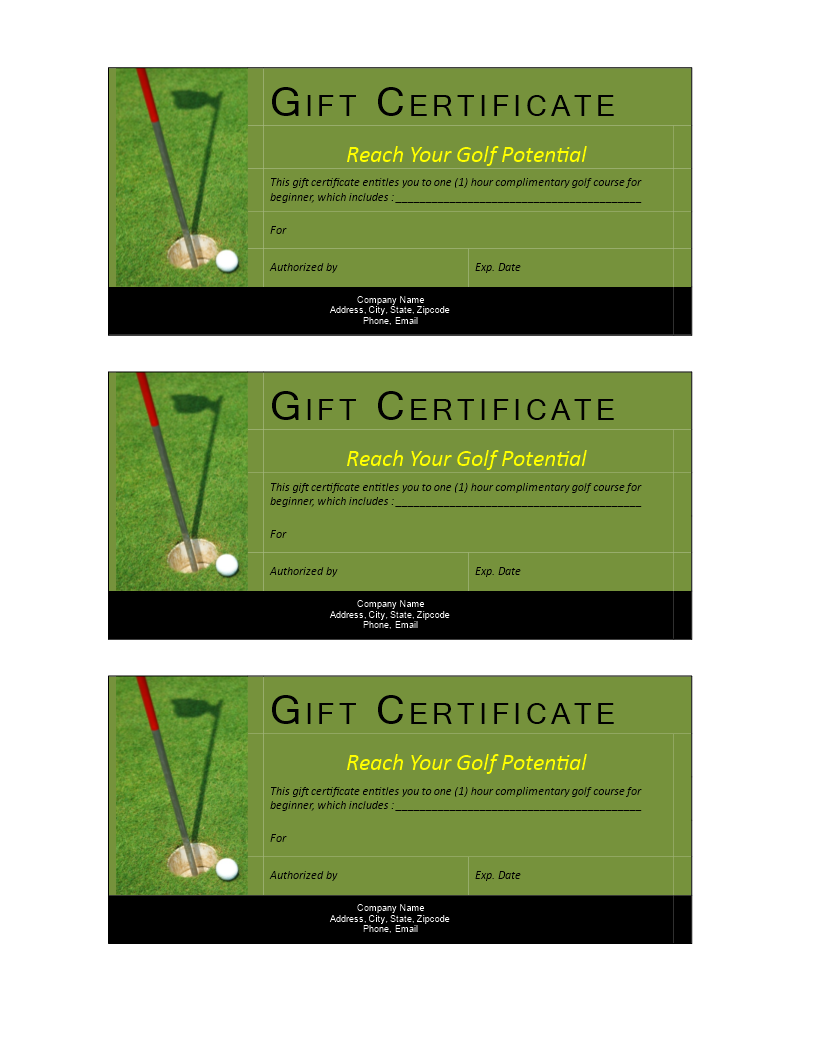 Free Golf Gift Non Cash Value Voucher Templates At