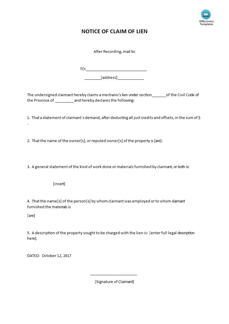 Notice Of Claim Of Lien | Templates at allbusinesstemplates.com