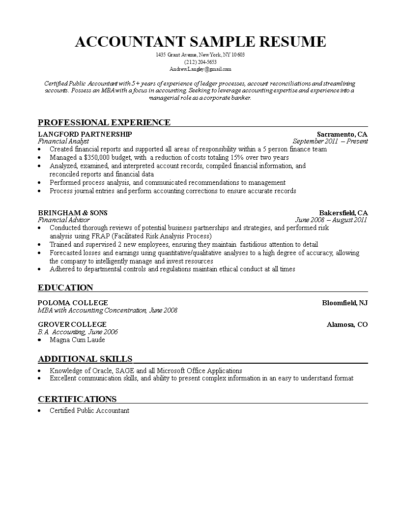Free Accountant Curriculum Vitae Example Templates At