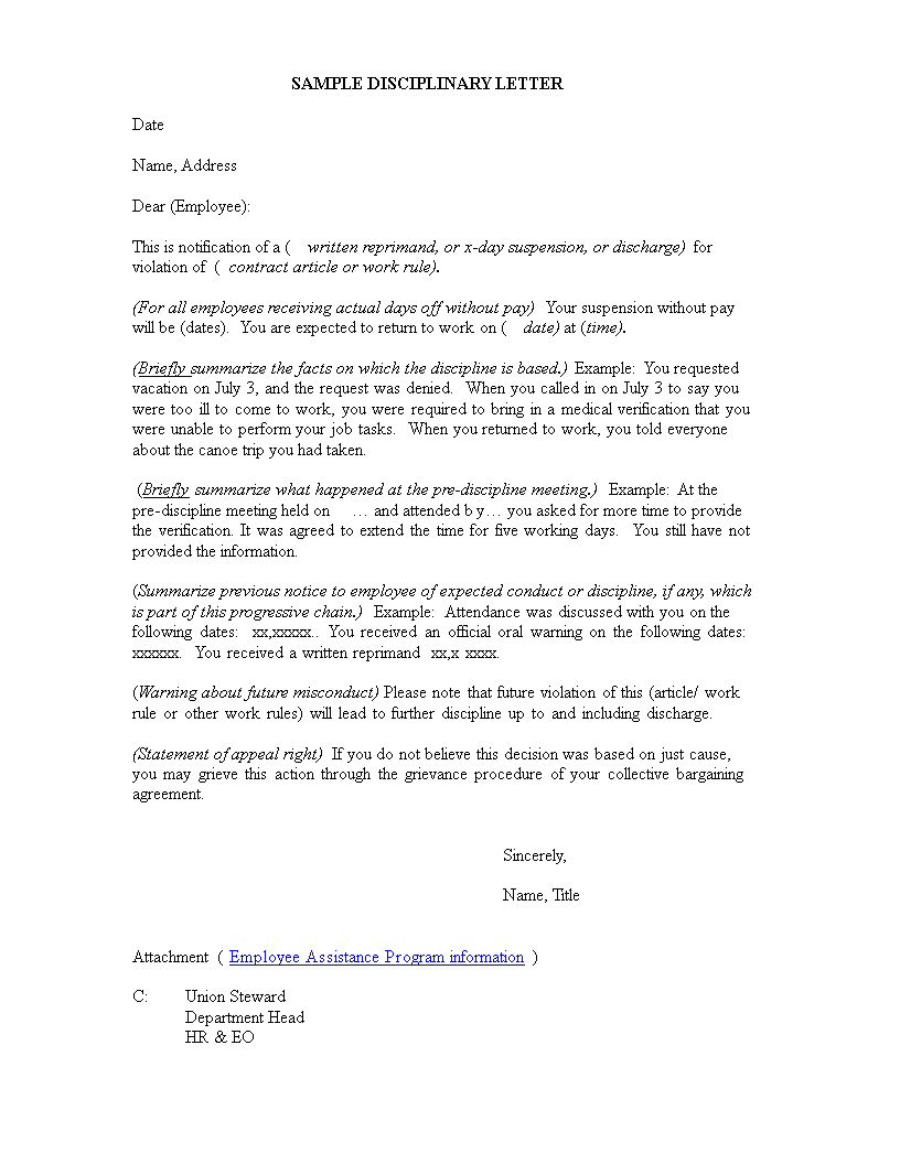 Disciplinary Warning Letter Main Image Download Template