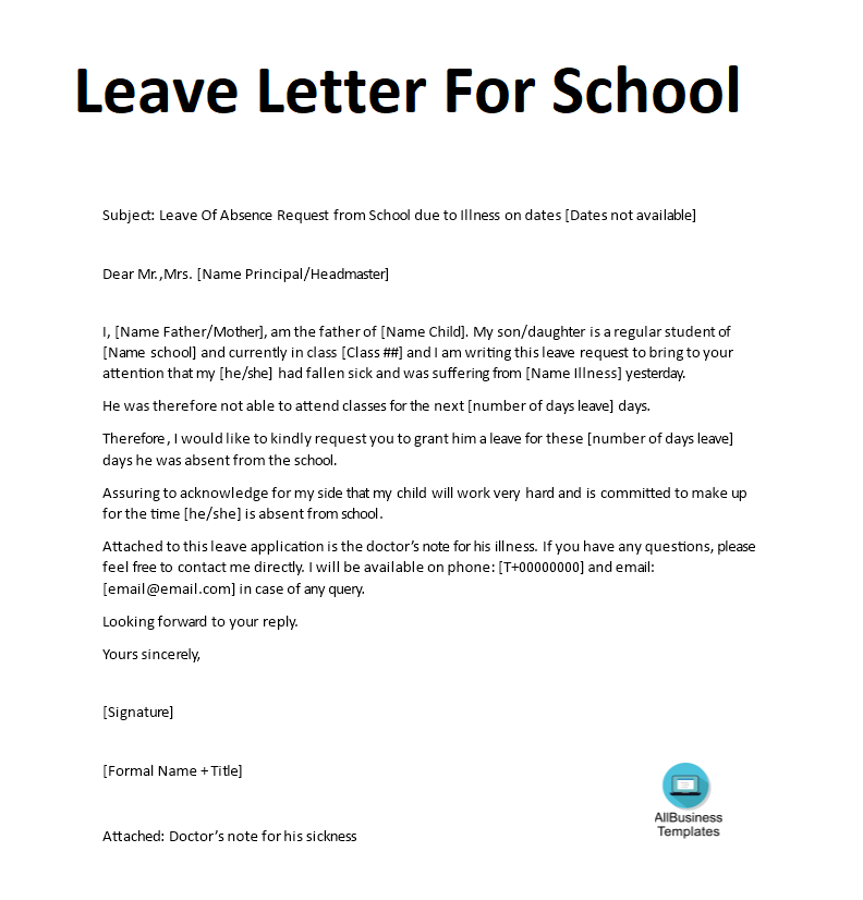 Leave letter for school main image