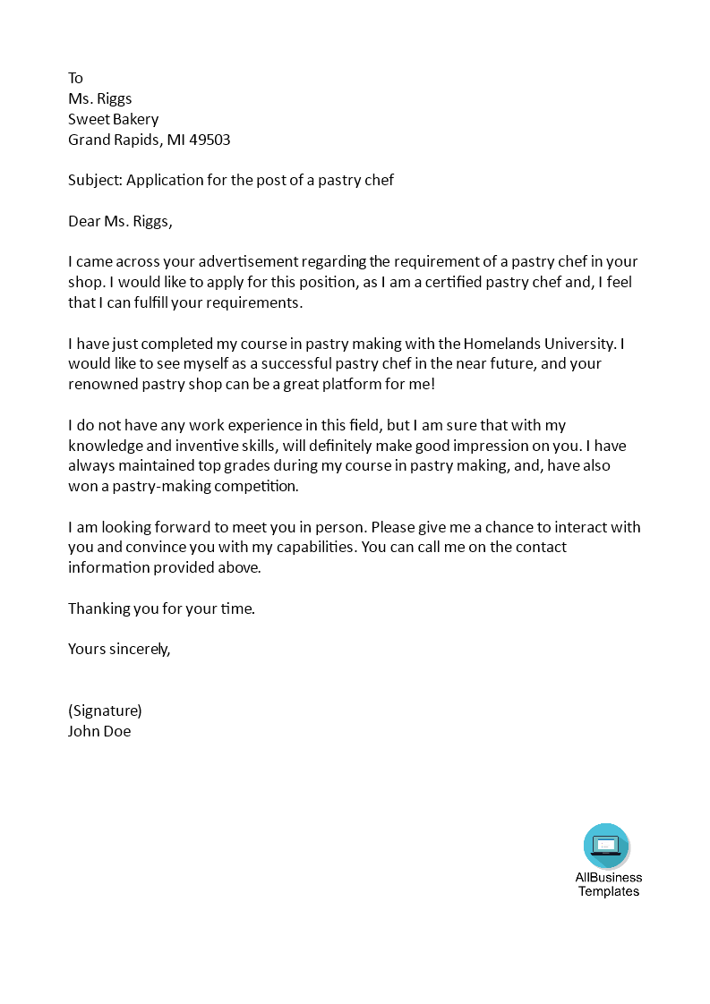 Job Application Letter Pastry Chef
