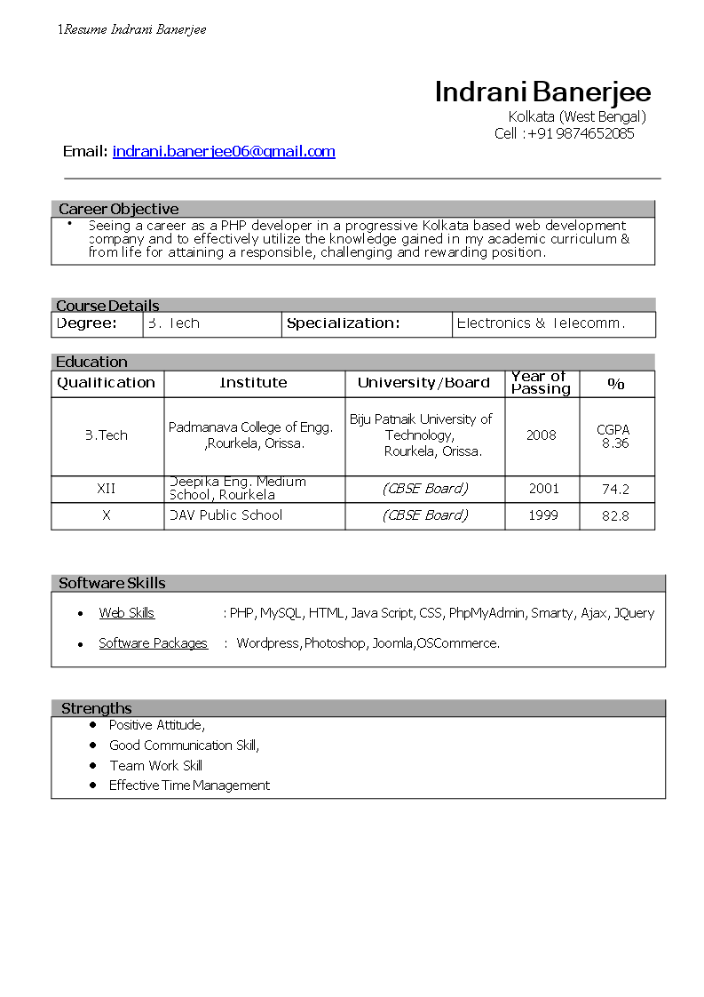 Fresher Cv Php Developer Templates At