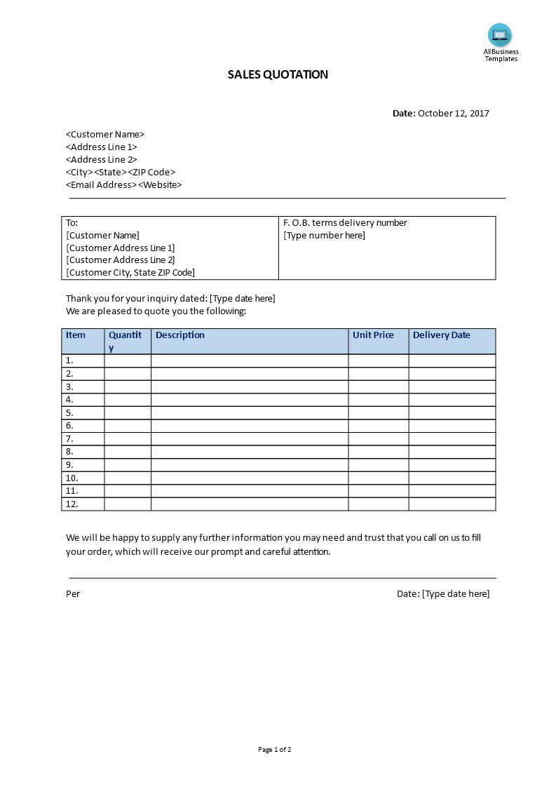 Sales Quotation | Free Sales Quotation Templates At Allbusinesstemplates Com