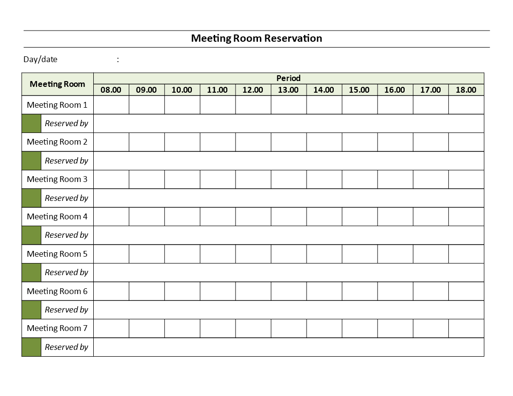 免费meeting rooms reservation sheet 样本文件在