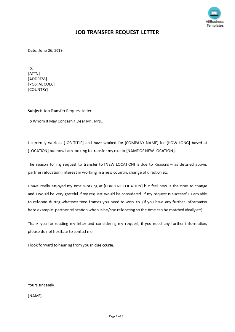 Job Transfer Request Letter Template Example main image