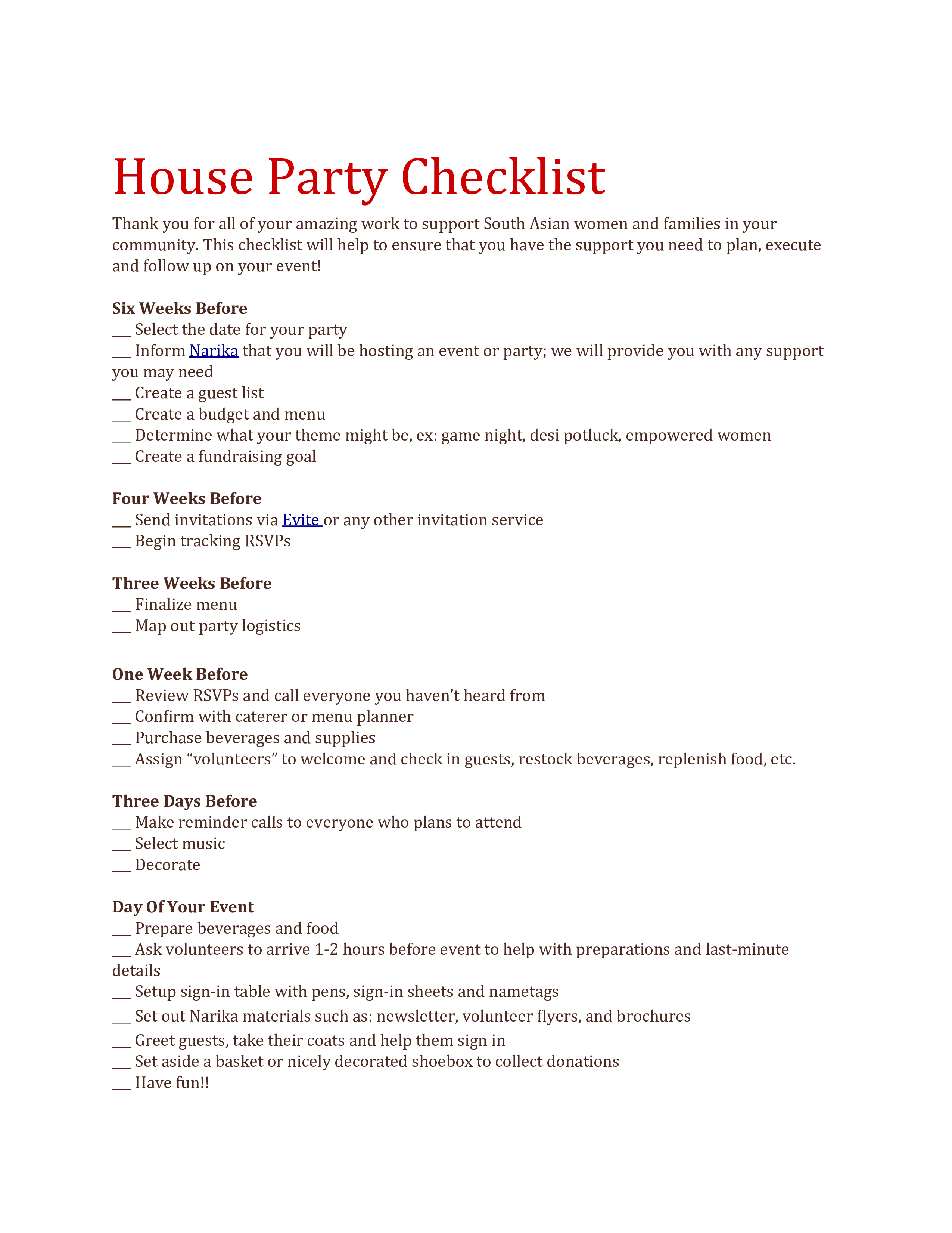 libreng house party checklist