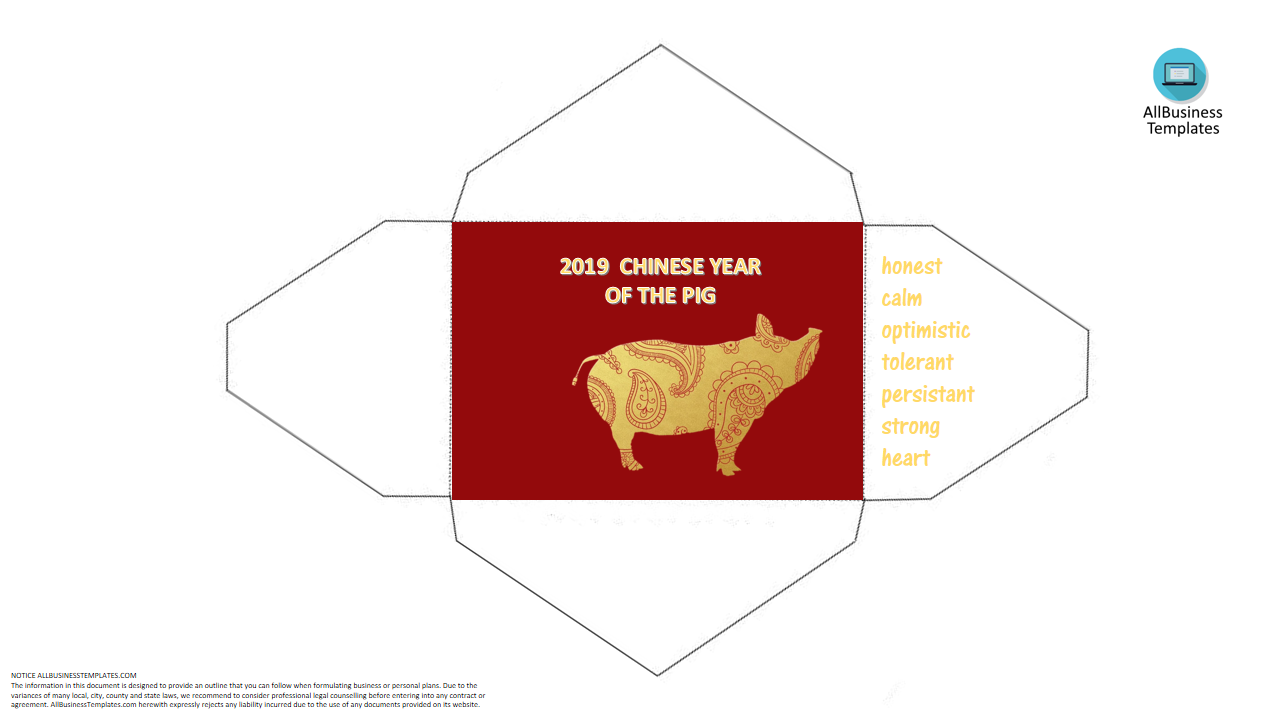 Chinese New Year Pig Hongbao Envelope template main image