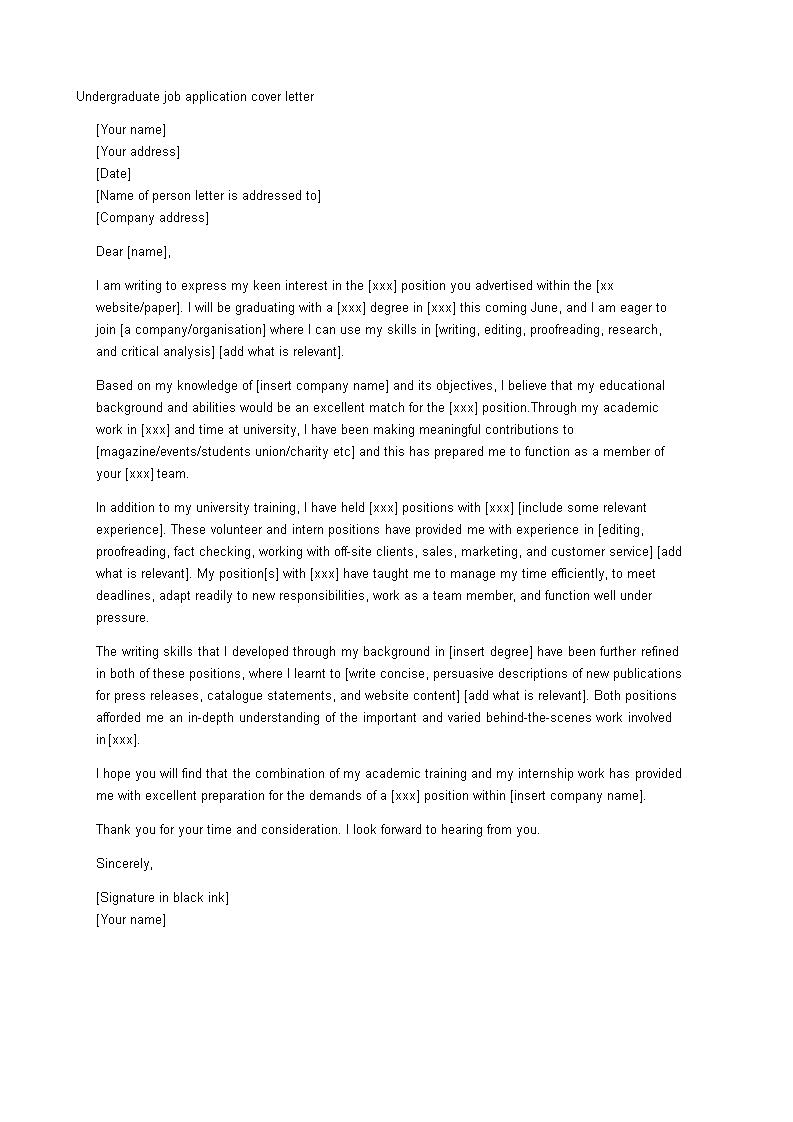 Undergraduate Student Cover Letter Templates At Allbusinesstemplates Com