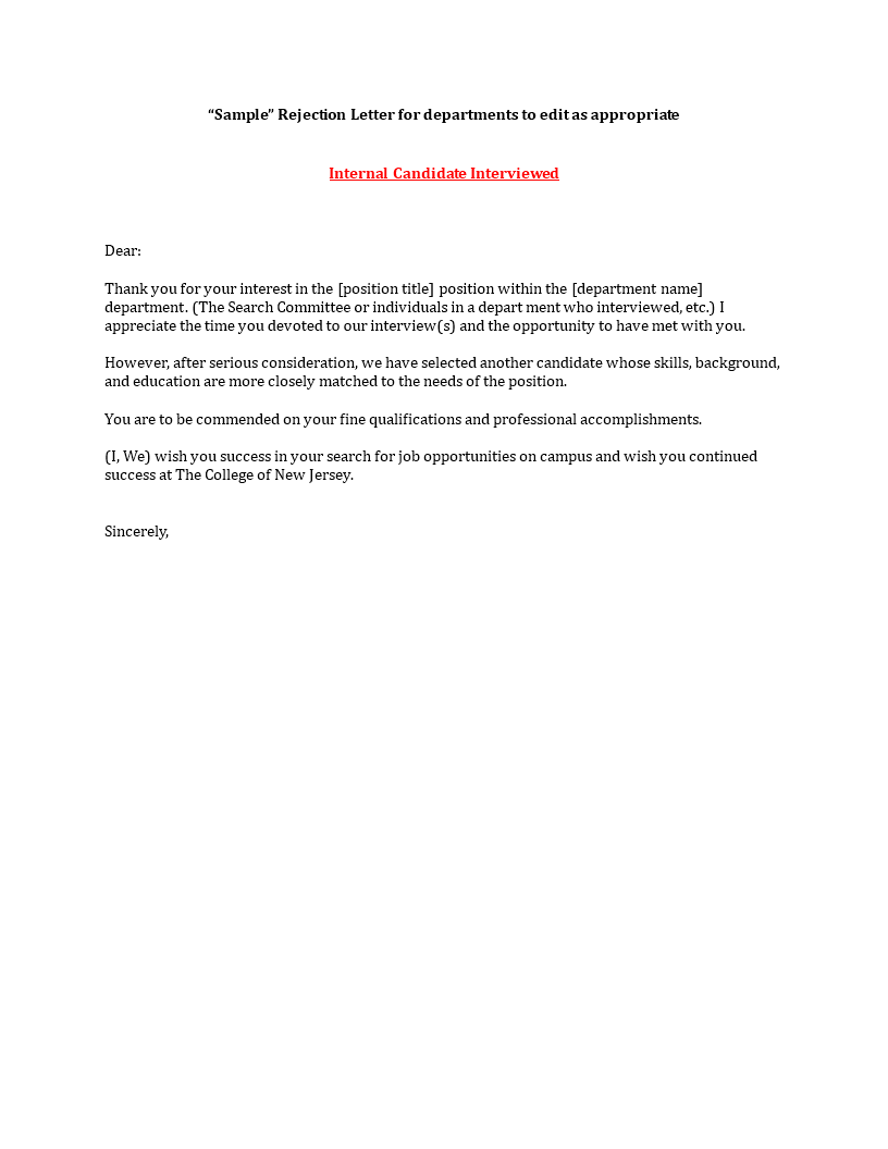 Applicant Rejection Letter After Interview Main Image