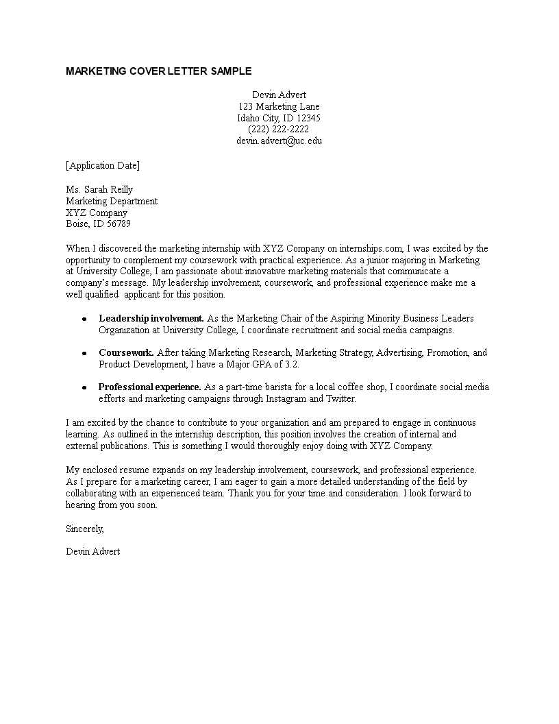 Sample Cover Letter For Marketing Job from www.allbusinesstemplates.com