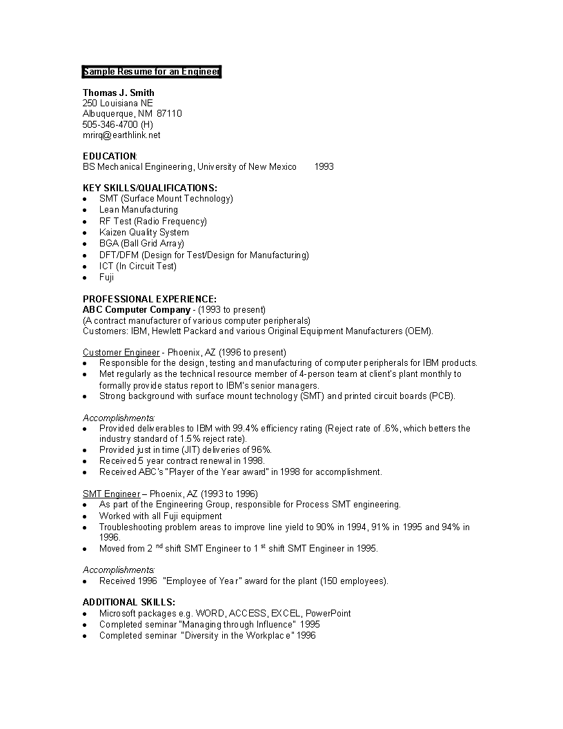 Software Engineer Cover Letter and Resume Example