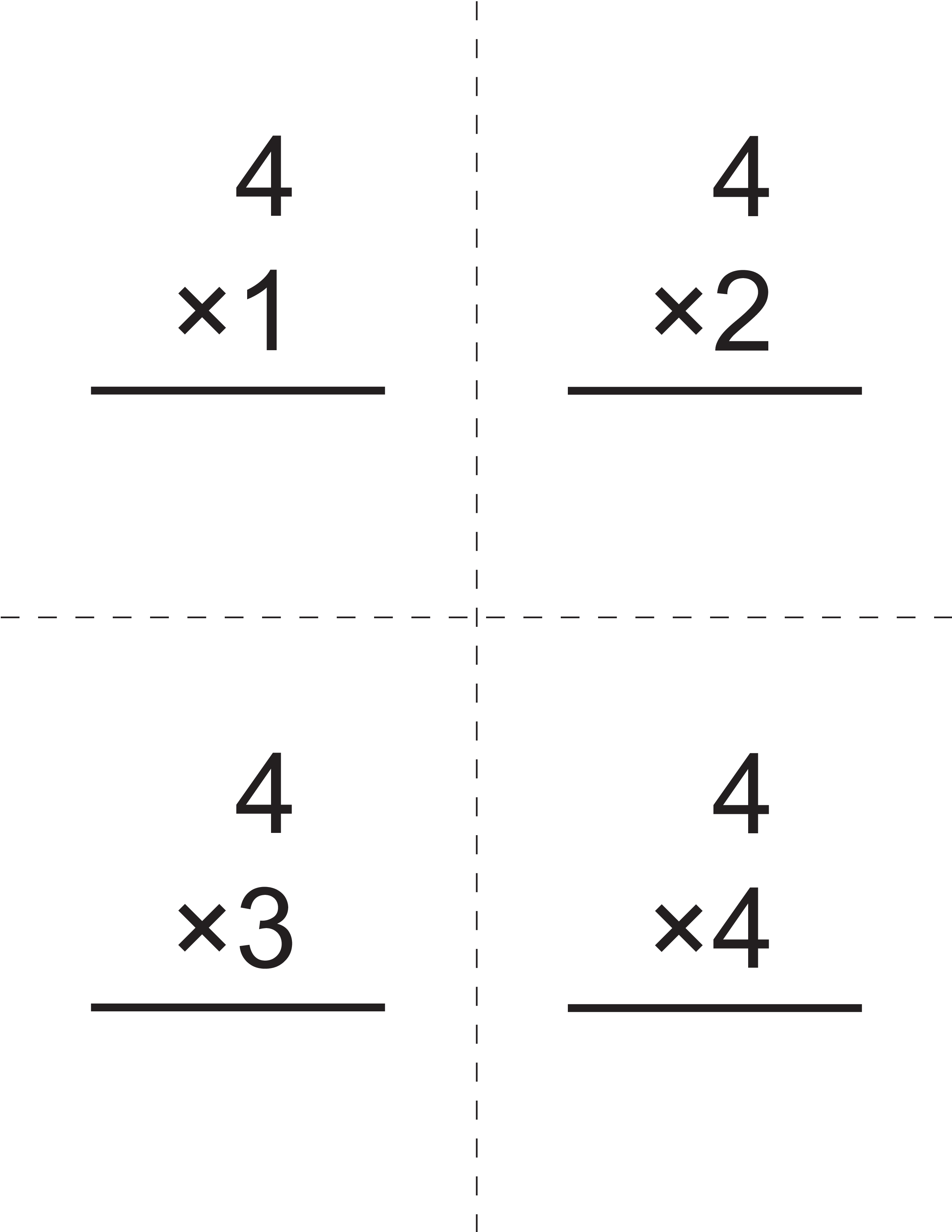 Multiplication Times 4 Flashcards Main Image Template