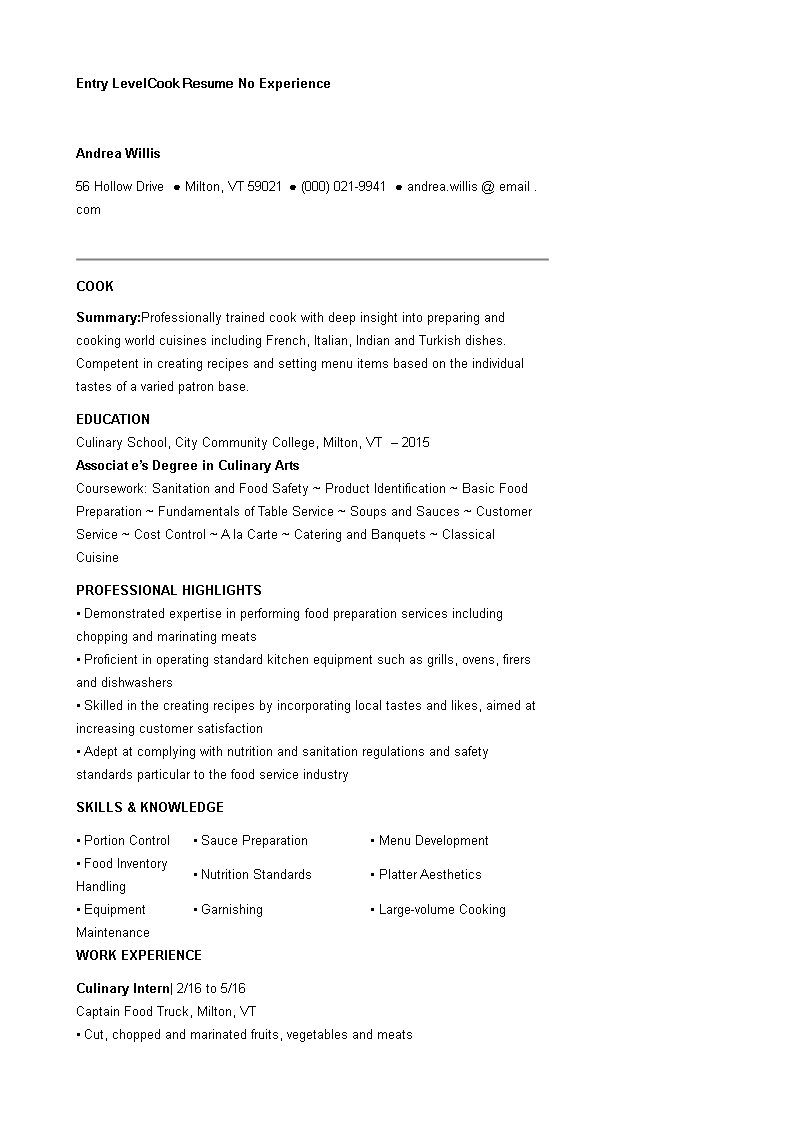 Entry Level Cook Resume No Experience Main Image Download Template