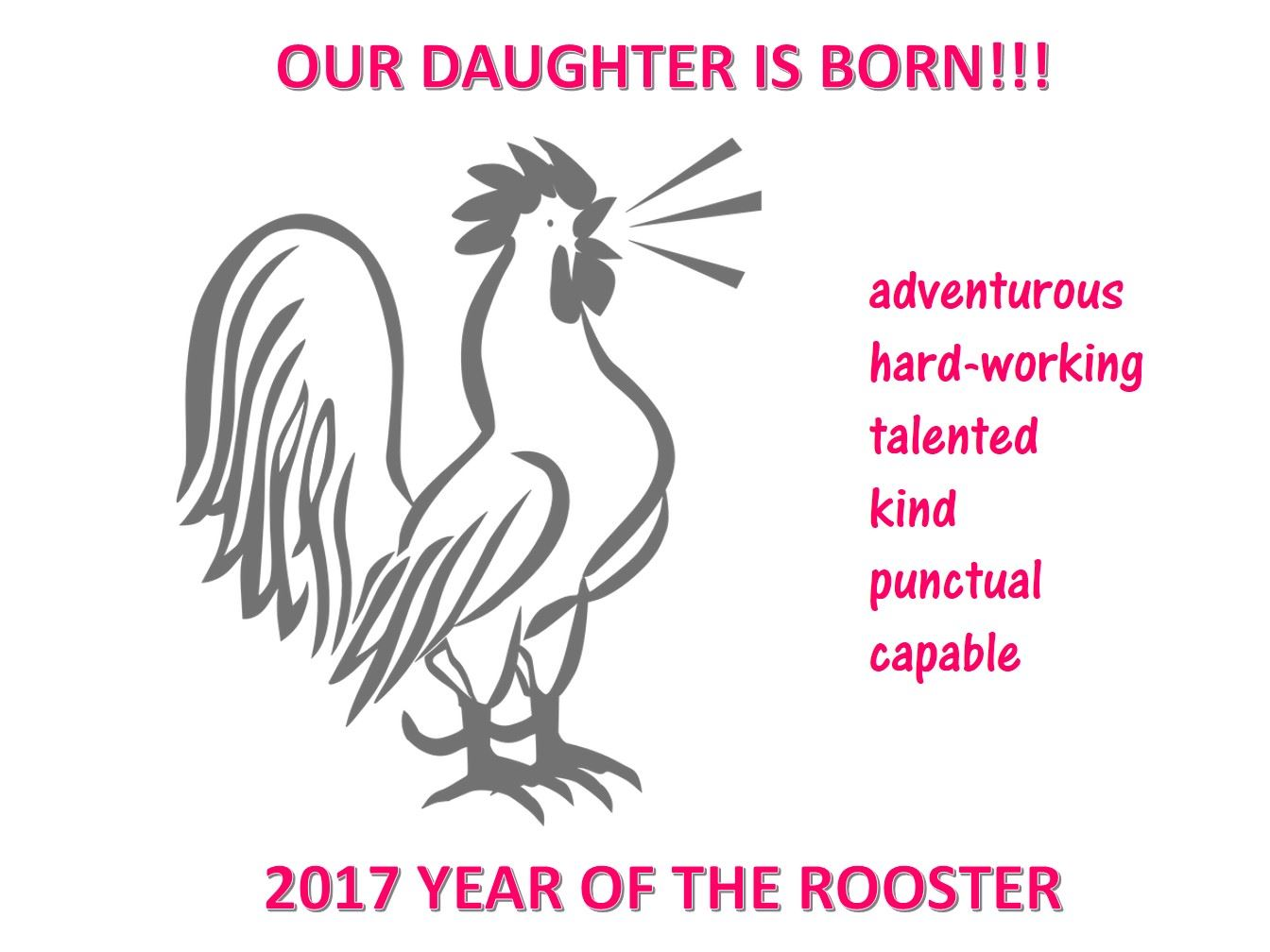 Free Daughter born Chinese year of rooster poster | Templates at ...