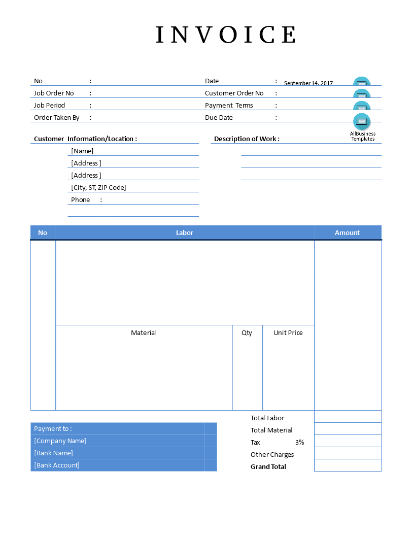 Editable Plumbing Sales Invoice Sample In Word | Templates at ...