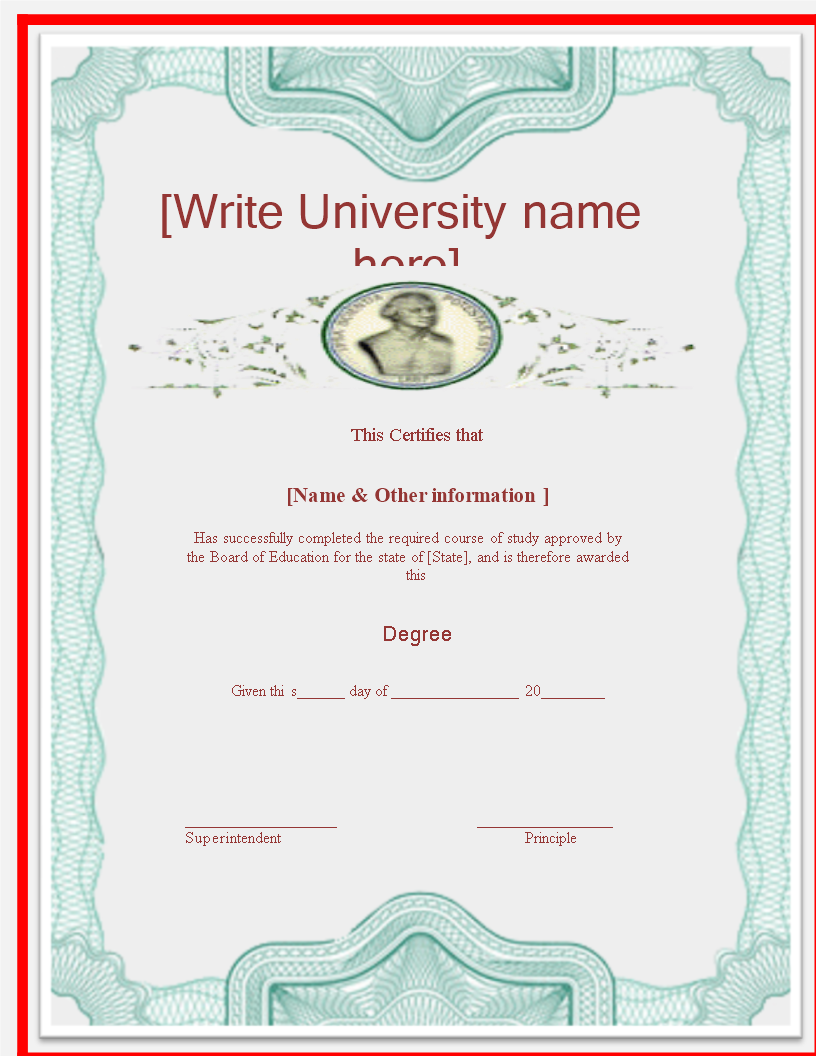 University Degree Certificate Template main image