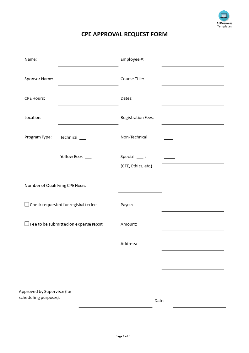 Continuing Professional Education Request Form Templates At