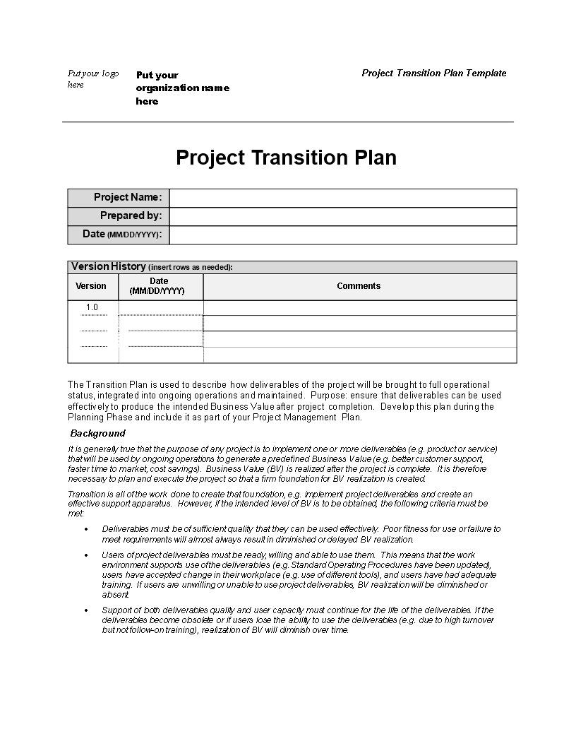 Project Transition Plan Template   Templates at ...