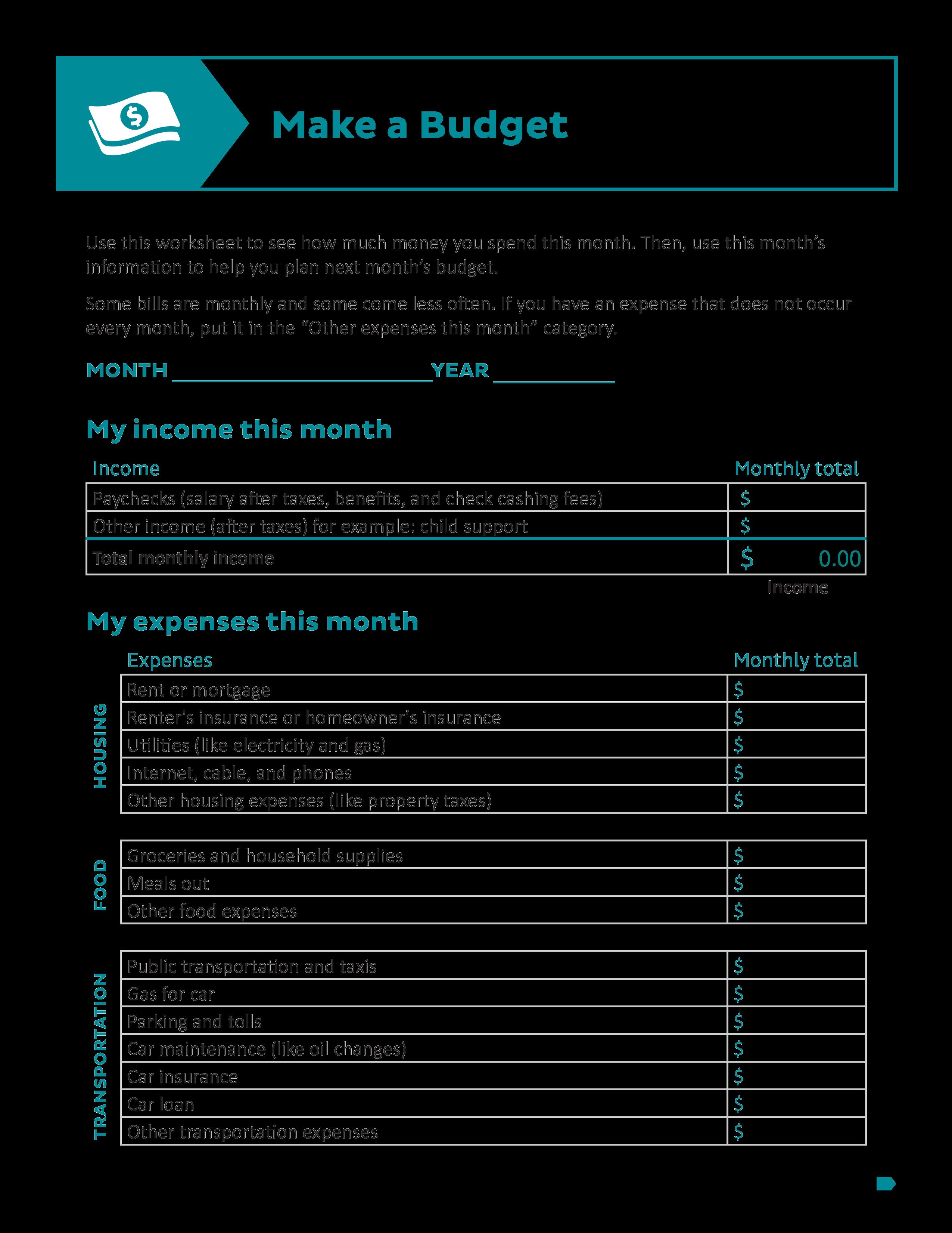 printable budget worksheets main image