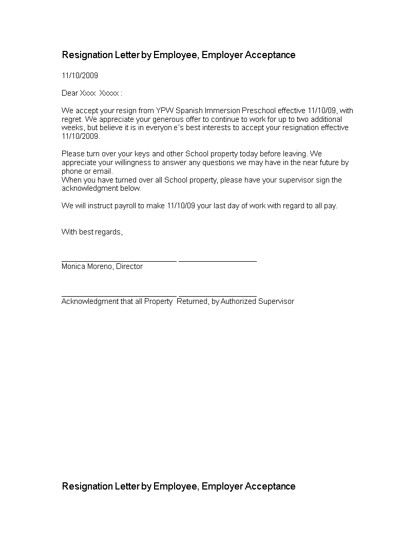 Free Resignation Letter By Employee  Templates At